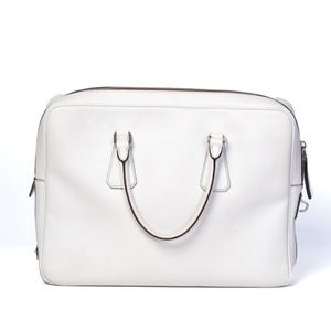 PRADA WHITE SAFFIANO LEATHER BRIEFCASE